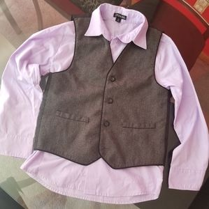 Boys light purple dress shirt with black vest